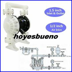 37GPM Air-Operated Double Diaphragm Pump 1.5inch Inlet & Outlet PTFE Membrane