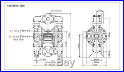 94.6GPM Air Operated Double Diaphragm Pump 1/2'' Air Inlet&3/4'' Outlet Gasoline